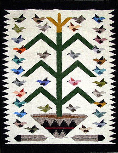 Navajo Rug Weaving By Marie Begay Bird Pictorial